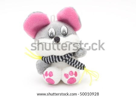 Toy soft mouse with on a white background - stock photo