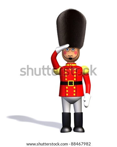 Toy Soldier/Nutcracker in saluting pose on white background: 3D rendering - stock photo