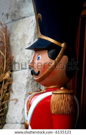 Toy soldier standing guard - stock photo