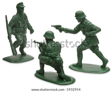 Toy Soldiers - isolated on white - stock photo