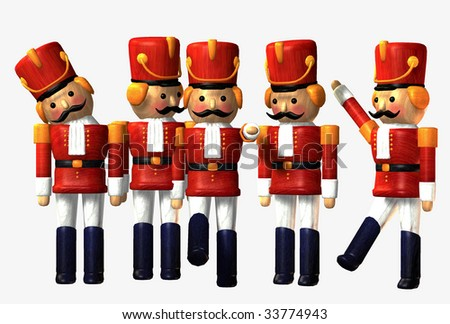 Toy Soldiers on white background - stock photo