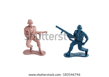 toy soldiers white background - stock photo