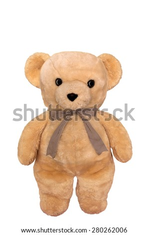 Toy teddy bear isolated on white. Clipping path included. - stock photo
