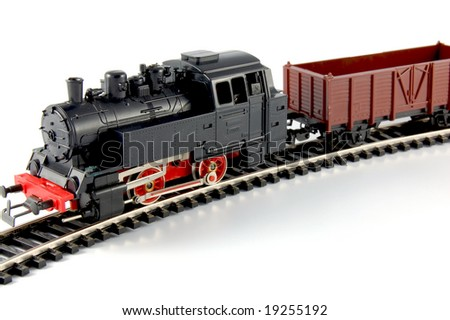 Toy Train and freight wagon - stock photo