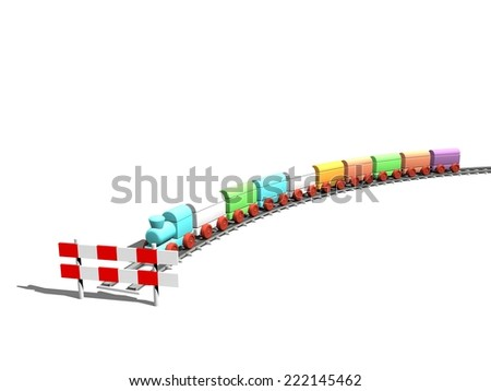 Toy Train in different colors. Endpoint of the trip. Stop sign in the front of scene. - stock photo