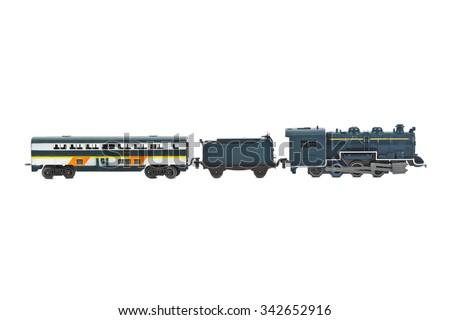 Toy train isolated on white background - stock photo