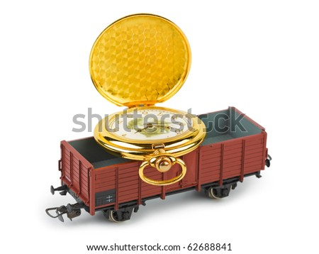 Toy train with watch isolated on white background - stock photo