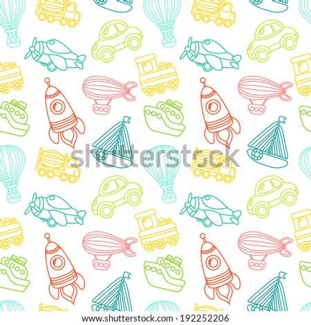 Toy transport outline seamless pattern with car airplane space rocket boat  illustration - stock photo