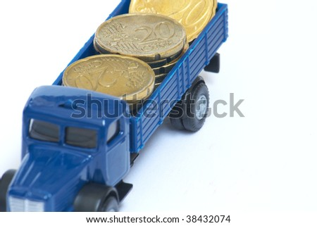 Toy truck with euro coins
