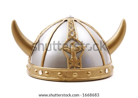 Toy viking cap isolated - stock photo