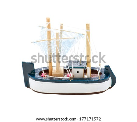 Toy Wooden Sail Boat isolated on white - stock photo