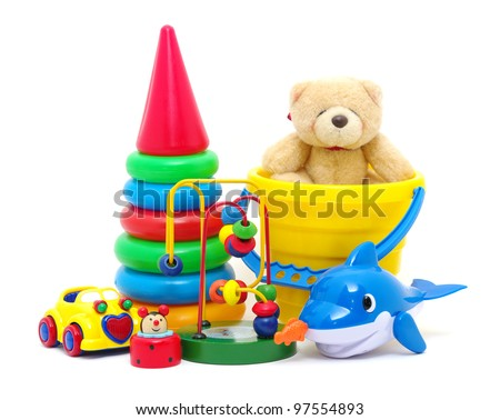 toys collection isolated on white background - stock photo