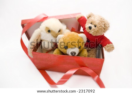 toys in a box - stock photo