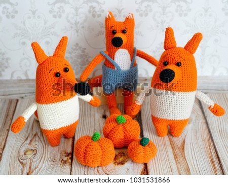 Toys knitted in the technique of knitting amigurumi. Foxes family
