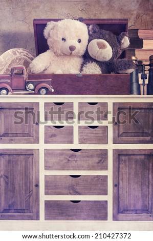 Toys on the dresser - stock photo