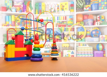 toys on the floor in a playroom