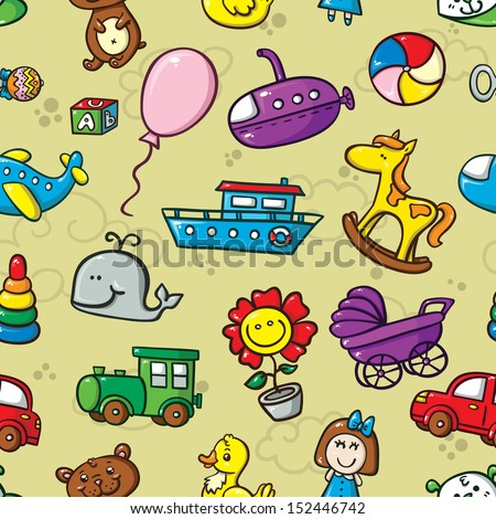 toys seamless pattern with collection of cute toys