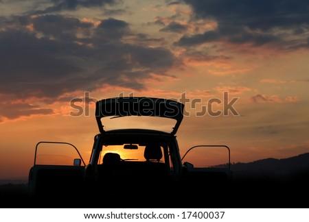 Trabant car on background sunset - stock photo