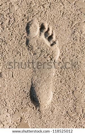 Trace bare feet on the coast of the Mediterranean sea - Israel - stock photo