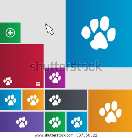 trace dogs icon sign. buttons. Modern interface website buttons with cursor pointer. illustration - stock photo
