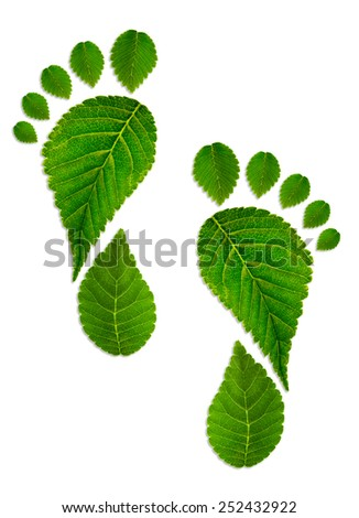 Trace foot from green leaves  - stock photo