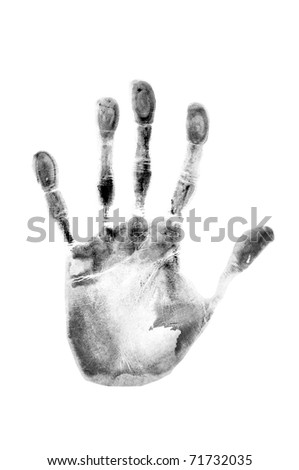 trace of a human hand on white background - stock photo