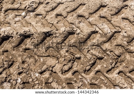 Trace of tire in the sand -  Texture - stock photo