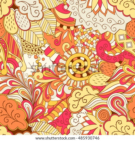 Tracery seamless calming pattern. Mehendi design. Ethnic colorful orange doodle texture. Indifferent discreet. Curved doodling mehndi motif.