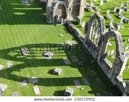 Tracery shadows at Elgin Cathedral, soft focus