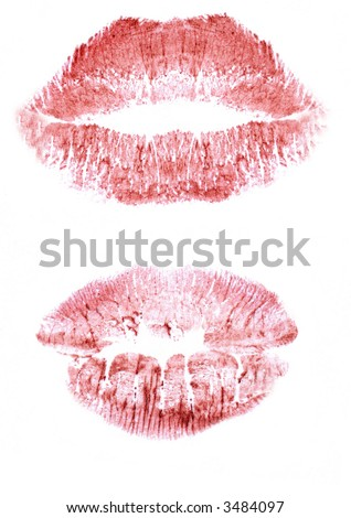 Traces from a kiss - stock photo