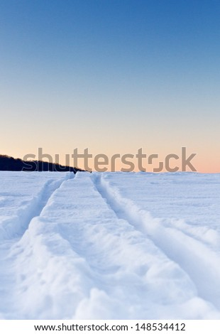 Traces in the snow - stock photo