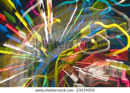 Traces of street illumination. - stock photo