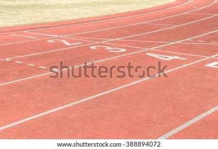 Track and field stadium - stock photo