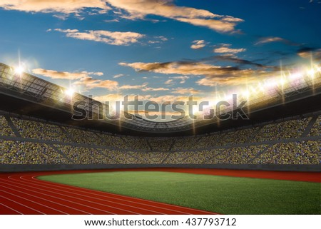 Track and field Stadium with fans wearing yellow uniform - stock photo