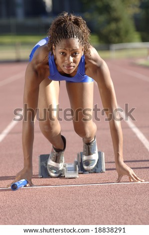 Track athlete start - stock photo