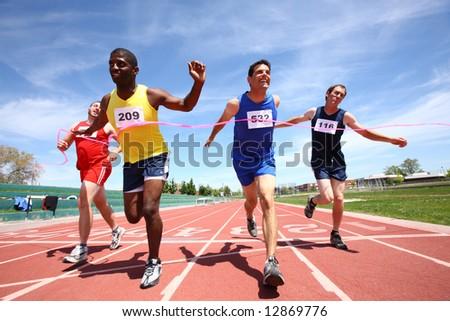 Track finish line - stock photo