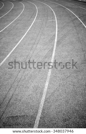 Track for Athlete is represented the path to success and competition, Black and white