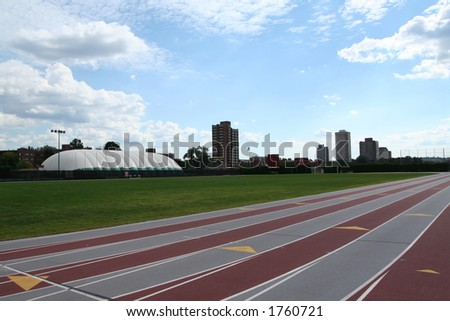 track lanes on a college campus - stock photo