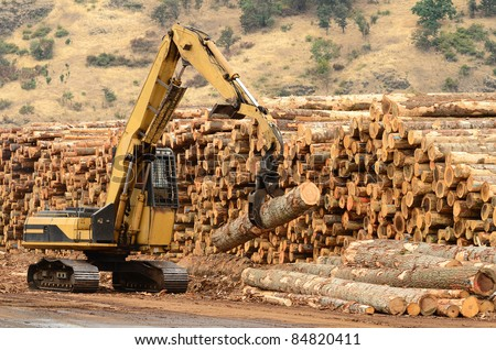 Track loader and operations in the log yard at a conifer log mill near Roseburg Oregon - stock photo