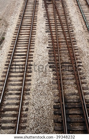 Track of rails with old timber sleepers.