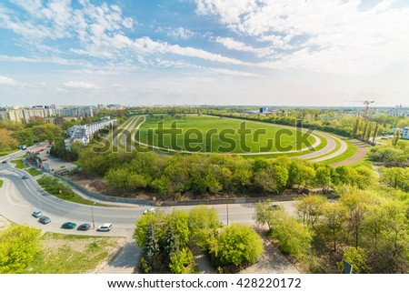 track riding in city - Warsaw - Poland - stock photo