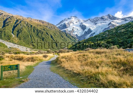 Track to the Mount Cook National Park,New Zealand - stock photo