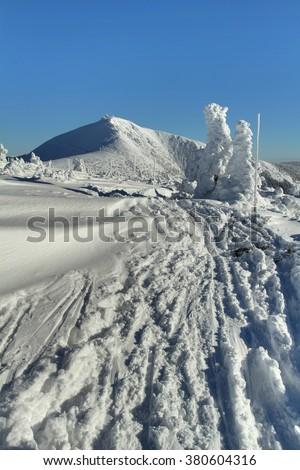 Track to the Snezka mountain - stock photo