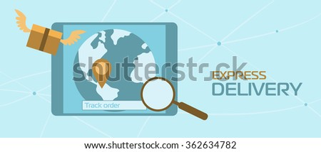 Tracking system, tracking icon. Tracking delivery. Online Tracking, internet Tracking. Tracking map. World wide tracking system. Search packages. - stock photo