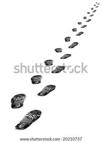 Tracks of shoes isolated on white background - stock photo