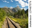 Tracks of the historic Durango and Silverton Narrow Gauge Railroad along the Animas River, Colorado, USA - stock photo