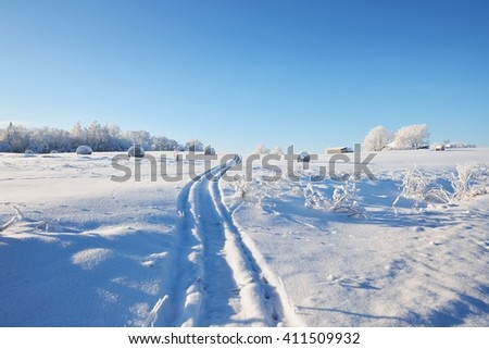 Tracks on a snowcovered field with hay bales - stock photo