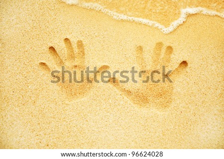 tracks on the sand - stock photo