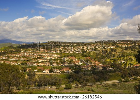 Tract Homes on a hillside in San Clemente California - stock photo