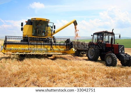 tractor and combine harvested wheat - stock photo